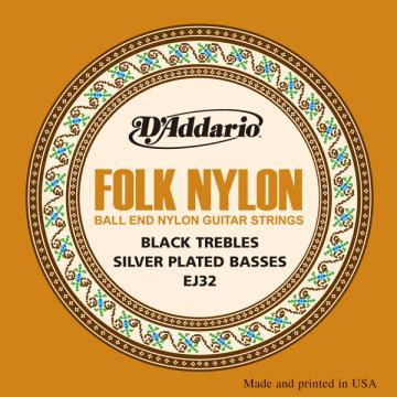 D Addario EJ32 Folk Black Nylon Copper Ball End