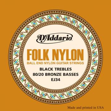 D Addario EJ34 Folk Black Nylon Ball End