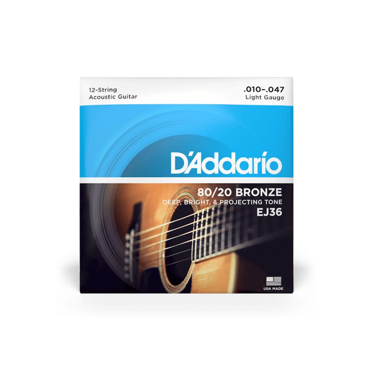 D Addario EJ36 Ac  Bronze 12 Strings Ecoline