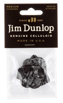 Dunlop Genuine Celluloid Black Pearl Medium 12er