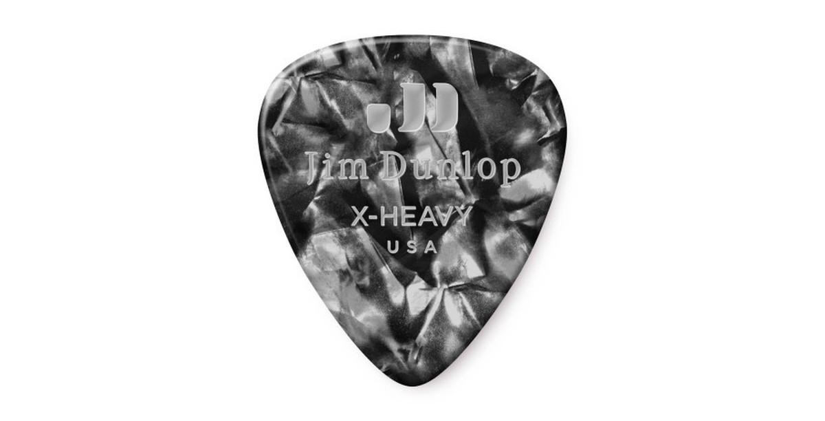 Dunlop Genuine Celluloid Black Pearl X heavy 12er