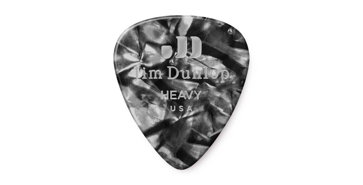 Dunlop Genuine Celluloid Black Pearl heavy 12er