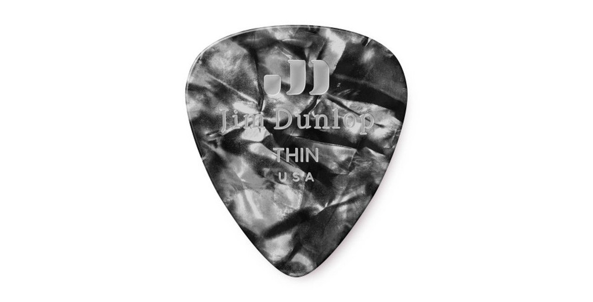 Dunlop Genuine Celluloid Black Pearl thin 12er