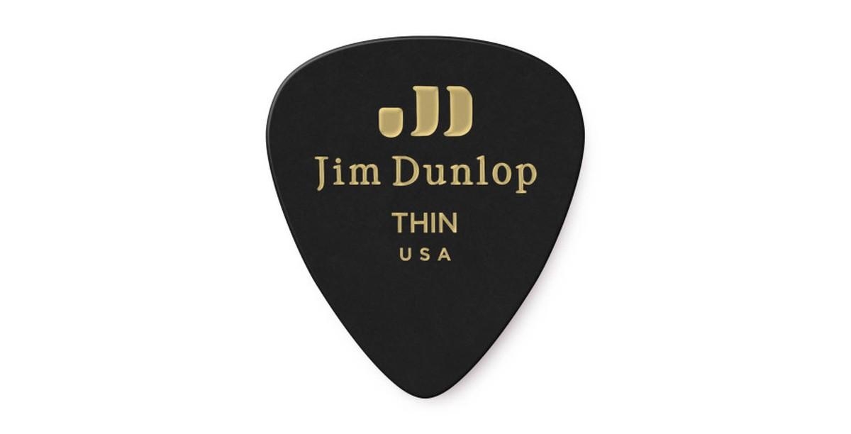Dunlop Genuine Celluloid Black Thin 12er