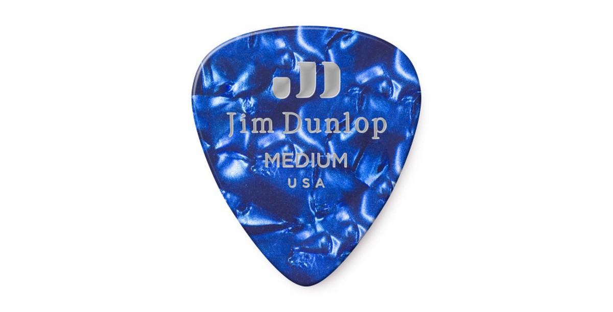 Dunlop Genuine Celluloid Blue Pearl Medium 12er
