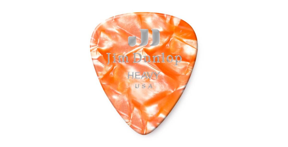 Dunlop Genuine Celluloid Orange Pearl Heavy 12er