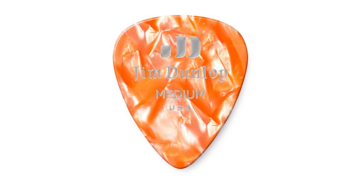 Dunlop Genuine Celluloid Orange Pearl Medium 12er