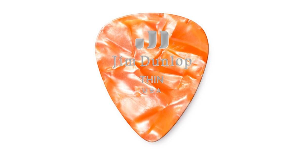 Dunlop Genuine Celluloid Orange Pearl Thin 12er