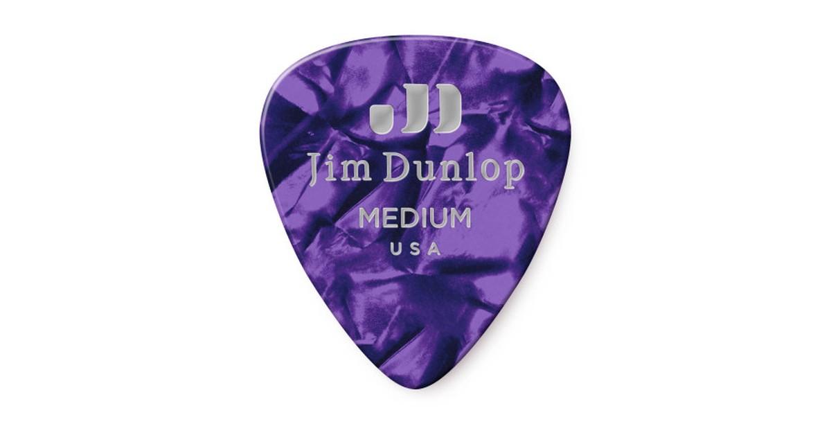 Dunlop Genuine Celluloid Purple Medium 12er Bag