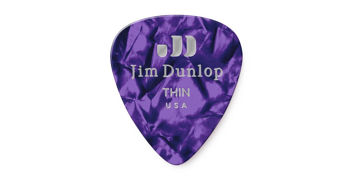 Dunlop Genuine Celluloid Purple Thin 12er Bag