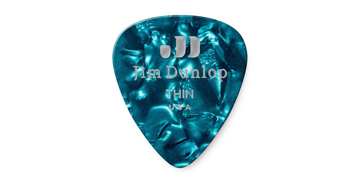 Dunlop Genuine Celluloid Turquoise Thin 12er