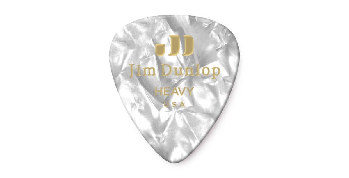 Dunlop Genuine Celluloid White Pearl Heavy 12er