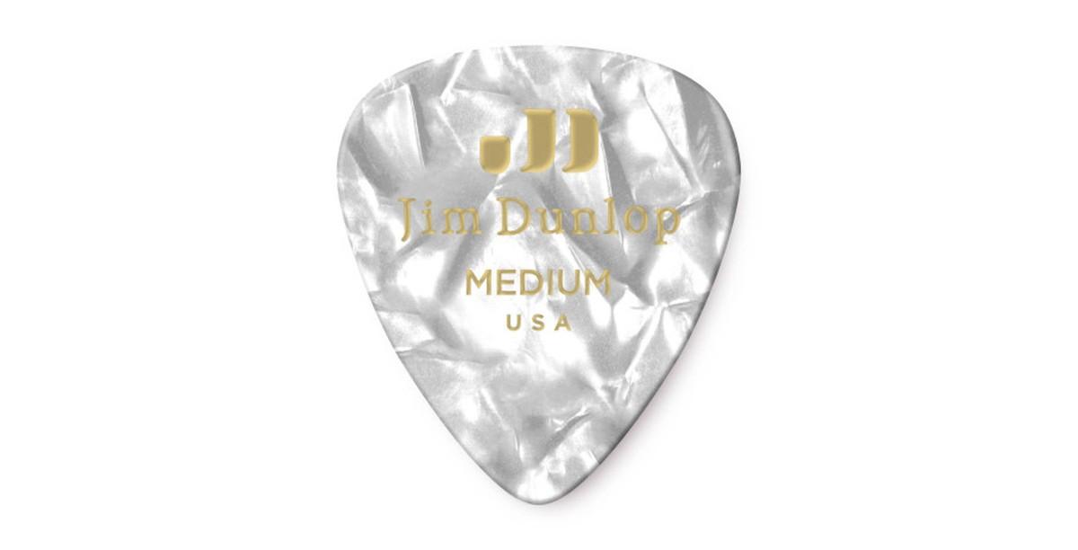 Dunlop Genuine Celluloid White Pearl Medium 12er