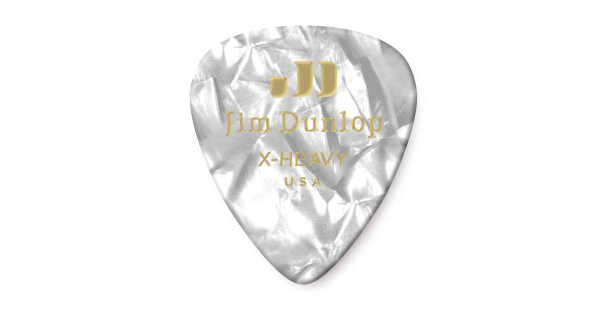 Dunlop Genuine Celluloid White Pearl X Heavy 12er