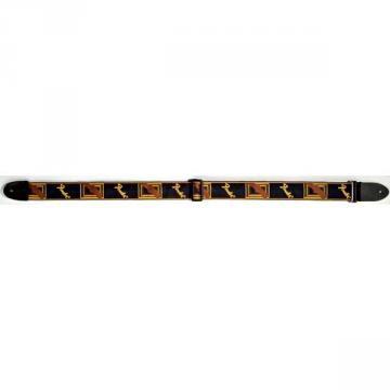 Fender Monogram Strap 2  Black Yellow Brown
