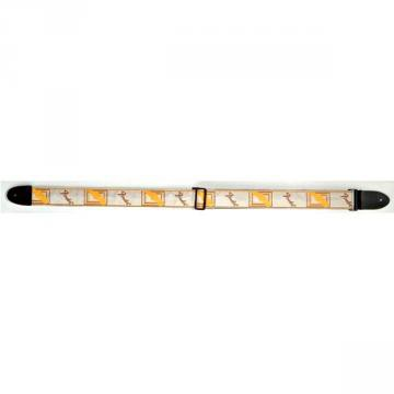 Fender Monogram Strap 2  White Brown Yellow