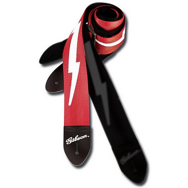 Gibson Guitar Strap Lightning Bolt Red