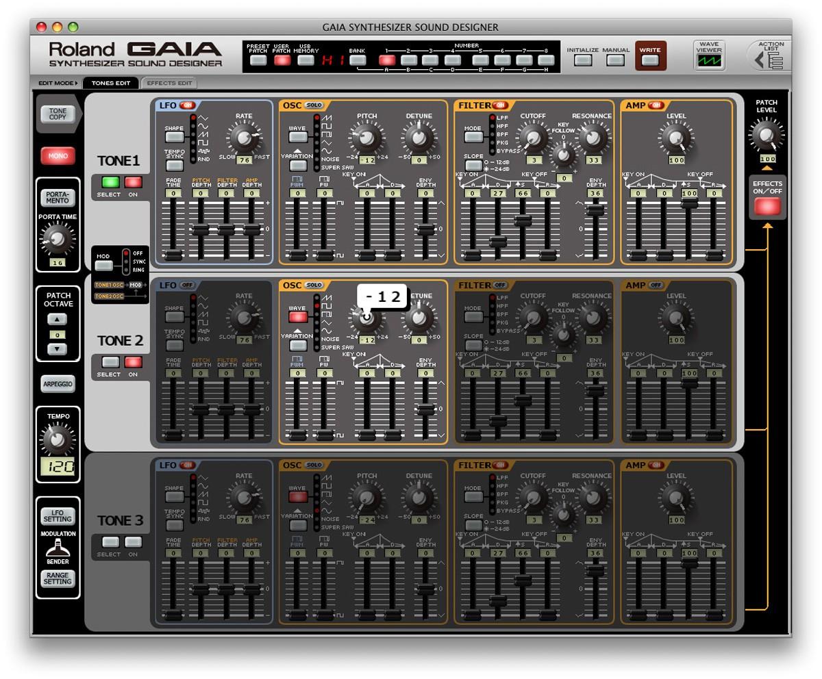 Roland SH 01 GAIA Editor