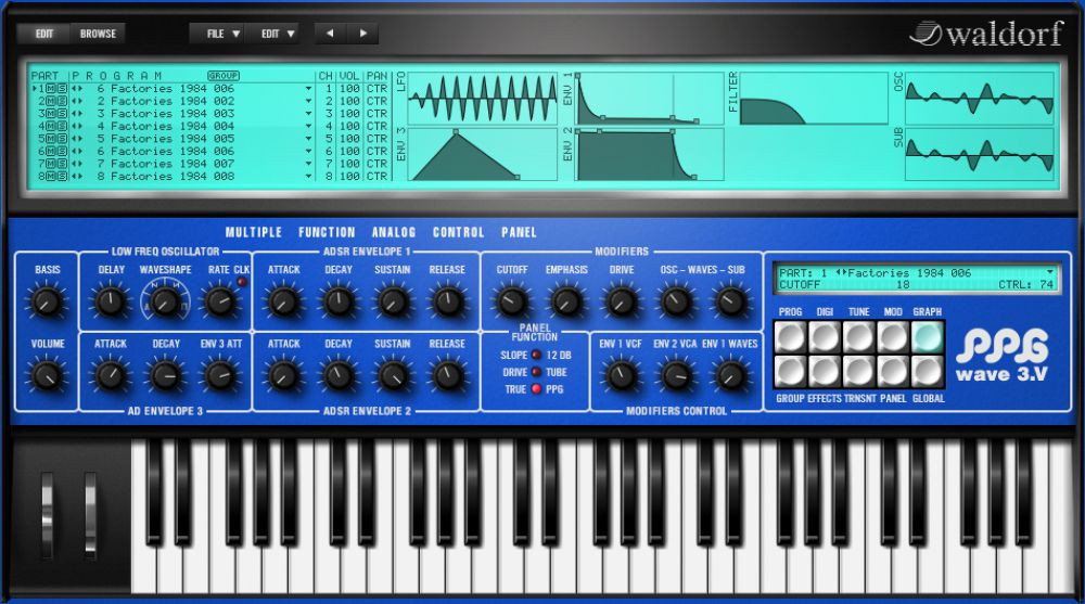 Waldorf PPG Wave 3 V Virtual PPG Synthesizer