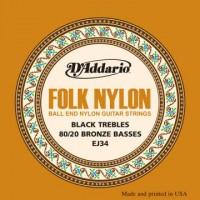 D Addario EJ34 Folk Black Nylon Ball End
