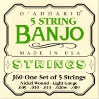 D Addario J60 Banjo Strings nickel light 9 20