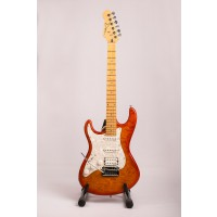 Dean Avalanche Quilt Amber   Maple Neck   lefthand
