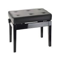 K M 13995 Klavierbank Echtleder schwarz poliert