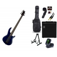 Starterset E Bass Dean Edge5 5 String TBL transblu